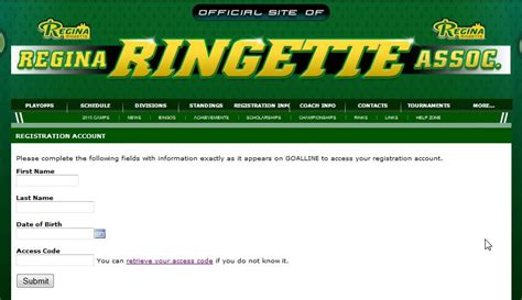 Association Of Mba Access Code by Ringette Association Powered By Goalline Ca
