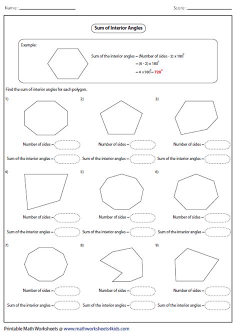 Angles In Polygons Worksheet by Polygon Worksheets
