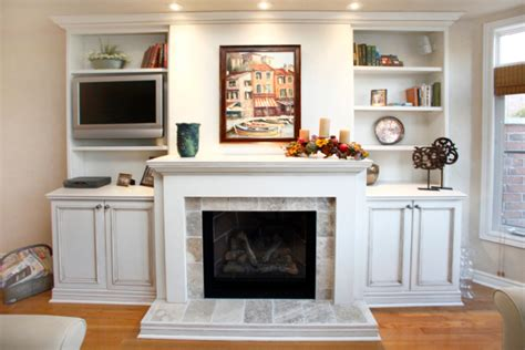 Kitchen Renovation unique millwork white fireplace mantel muskybay millwork