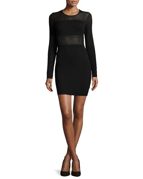 black knit dress rvn sheer stripe knit cocktail dress in black lyst