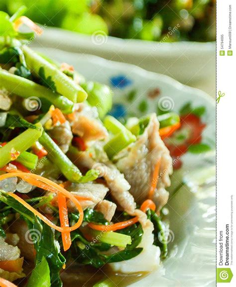 thai better food spicy pork and fresh vegetable mix stock photo image