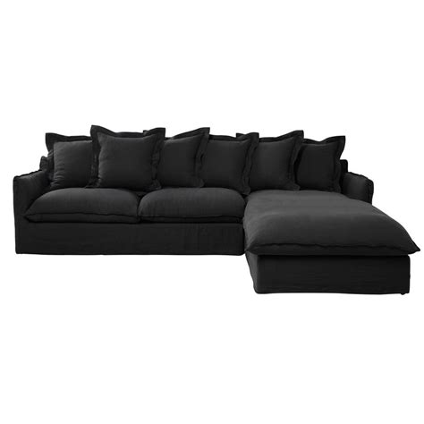 linen corner sofa 7 seater washed linen corner sofa in charcoal grey