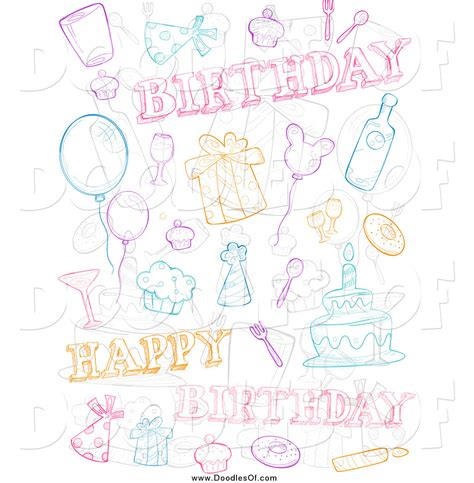 free vector birthday doodle vector clipart of a doodle birthday collage by bnp design