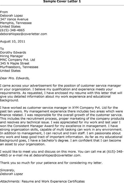 Resume Cover Letter Sles Customer Service Cover Letter Sle Customer Service Representative