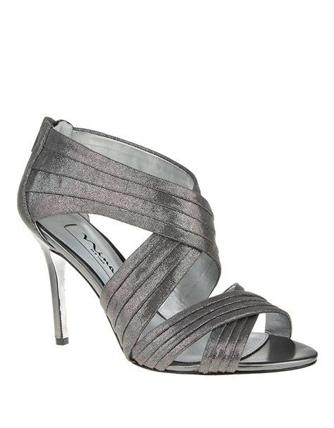 grey high heel sandals melizza high heel sandals in gray grey lyst