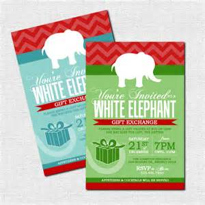 White elephant gift exchange invitations christmas by nowanorris