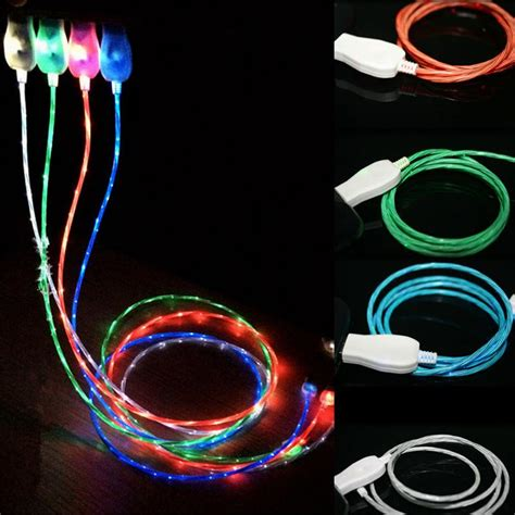 Wellcomm Flowing Lights Led Microusb Cable For Or Samsu 2003 Visible Flowing Led Cable Light Up Charging Cable W Led