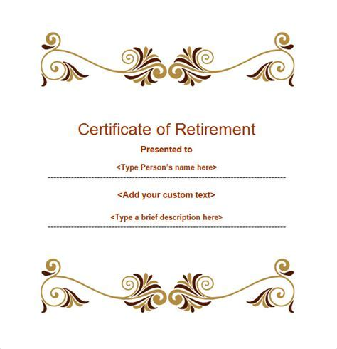 Powerpoint certificate template free un mission retirement certificate template 6 download documents in yadclub Choice Image