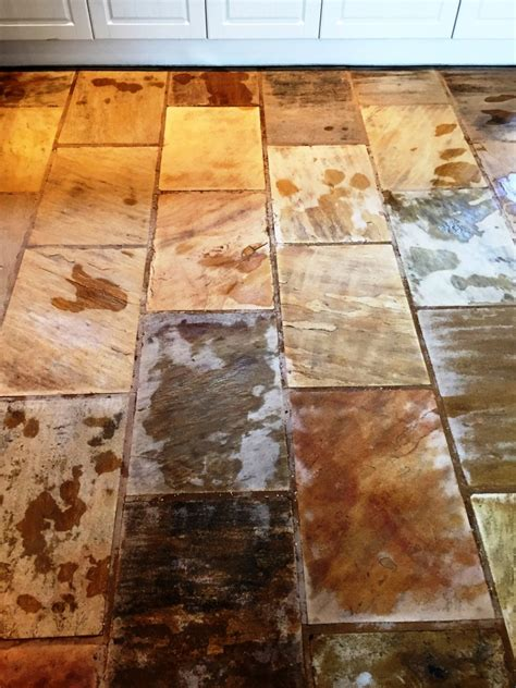 Cleaning and Sealing Indian Fossil Sandstone Floor Tiles