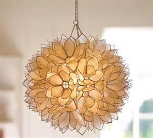 Lotus Capiz Chandelier A Luminous Lotus Flower Capiz Pendant Ingenious Look