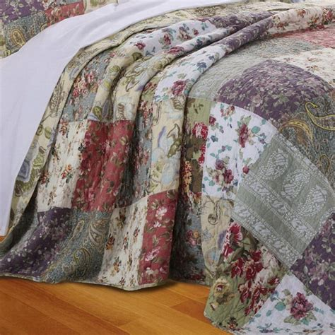 Cottage Patchwork - country cottage patchwork cotton bedspread set oversize