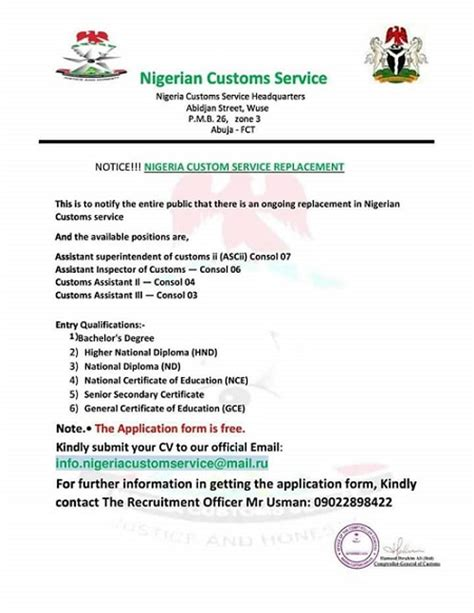Bank Nigeria Letterhead Avoid This Nigeria Customs Recruitment