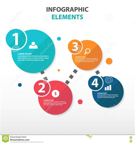Flat Flow abstract circle flow chart business infographics elements