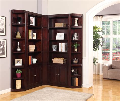 Oak Bookcase With Glass Doors Furniture White L Shaped Corner Wall Bookcase With