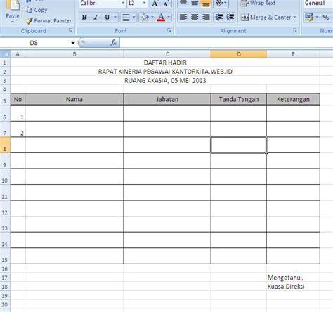 contoh format daftar hadir rapat desa membuat form daftar hadir kegiatan kantorkita net