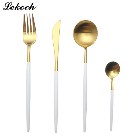 White Cutlery 1 lekoch golden 18 10 stainless steel dinnerware set white handle silverware set fork knife scoops