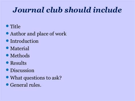 how to present a journal club