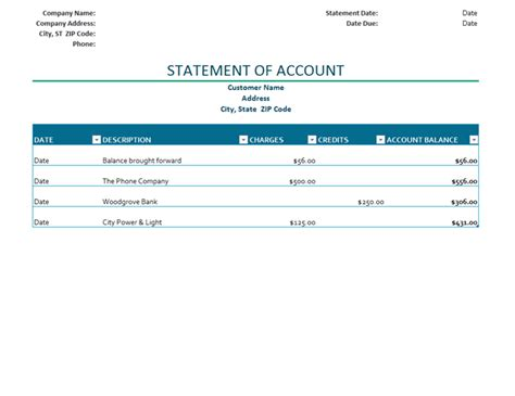 Billing Statement Of Account Statement Of Account Template