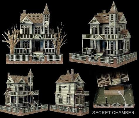 printable haunted house paper ghost house paper model ravensblight howl o ween