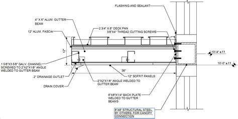 Metal Deck Awning Connection Details By Wall Type Architectural Fabrication