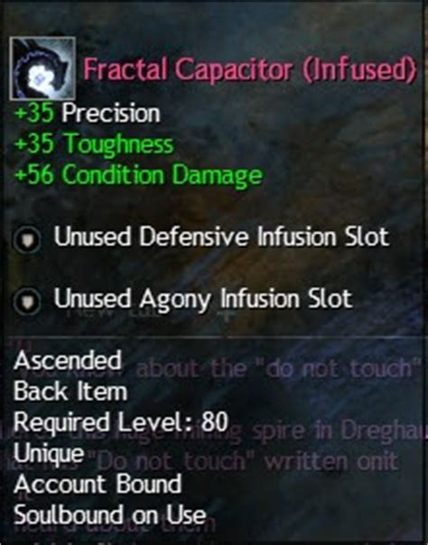 fractal capacitor infused code gw2 ascended gear and infusion recipes dulfy