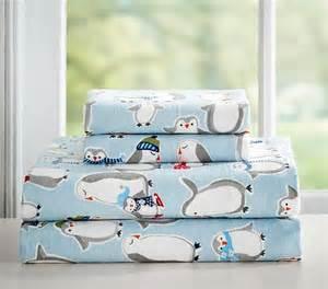 Baby Bedding Sets Penguin Penguin Flannel Sheet Set Pottery Barn