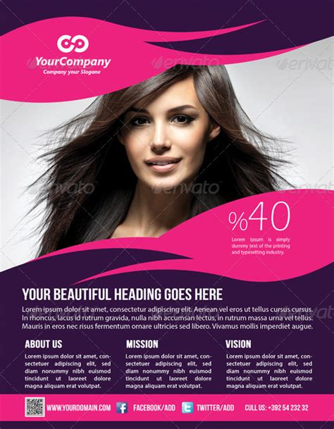 hair amp beauty salon business flyer by graphicms graphicriver