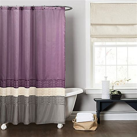 purple and grey shower curtain buy mia shower curtain in purple grey from bed bath beyond