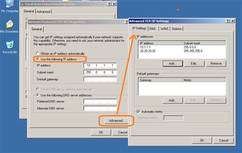 configure xp static ip windows 7 connect to two lan networks with a single card