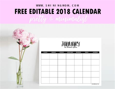 Free Fully Editable 2018 Calendar Template In Word 2018 Editable Calendar Template