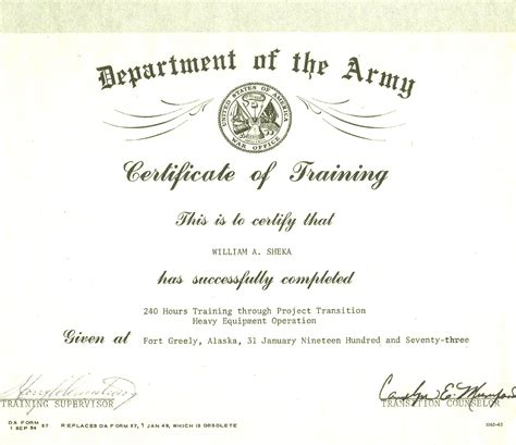 army certificate of training template masir