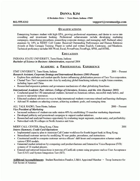 resume format for management students management student resume
