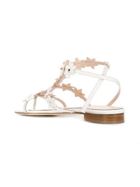 white embellished sandals oscar de la renta t bar embellished sandals in white lyst
