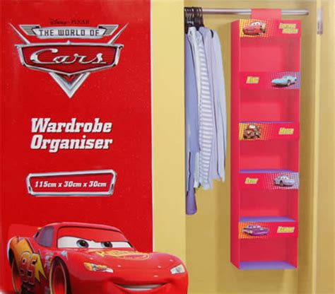 disney cars fabric hanging wardrobe organiser 115cm x 30cm