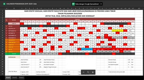 kalender pendidikan  excel