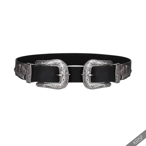 womens buckle thick quality faux leather western