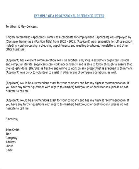 sample reference letter format  examples  word