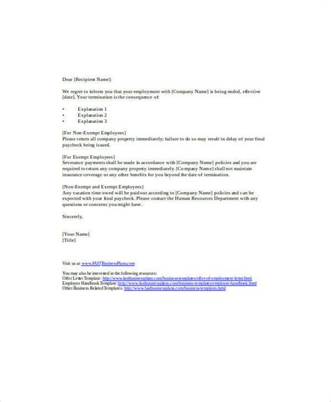 termination letter template for business 37 sle termination letters
