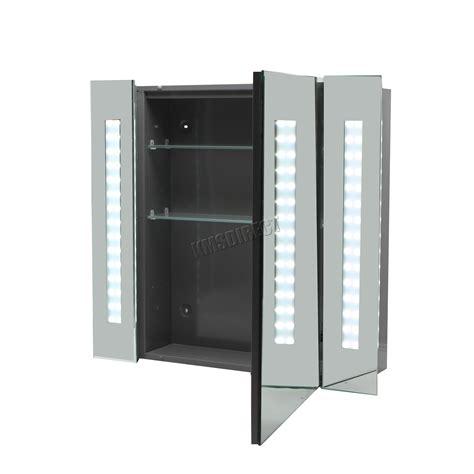 led illuminated bathroom mirror cabinet foxhunter led illuminated mirror bathroom cabinet steel