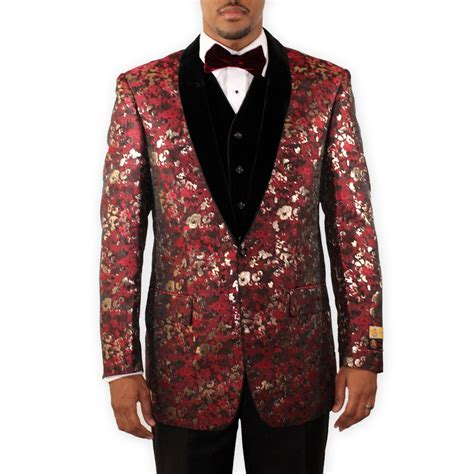 burgundy and gold tuxedo floral with velvet lapel