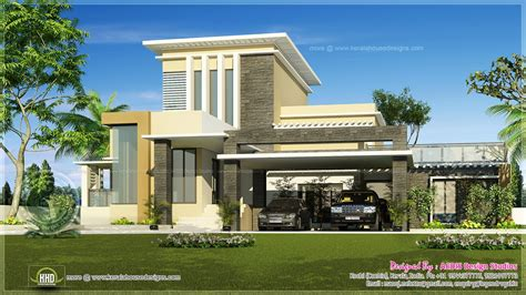 Sloped Lot Floor Plans by Flat Roof Contemporary Home In 1750 Sq Ft Home Kerala Plans