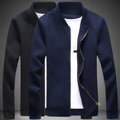 Blazer Casual Black Zipper 2015 new casual jacket stand collar black navy blue jacket zipper knitting stitching