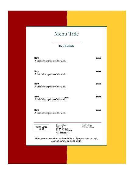 Download Free Restaurant Menu Templates Deli Menu Templates Free Downloads