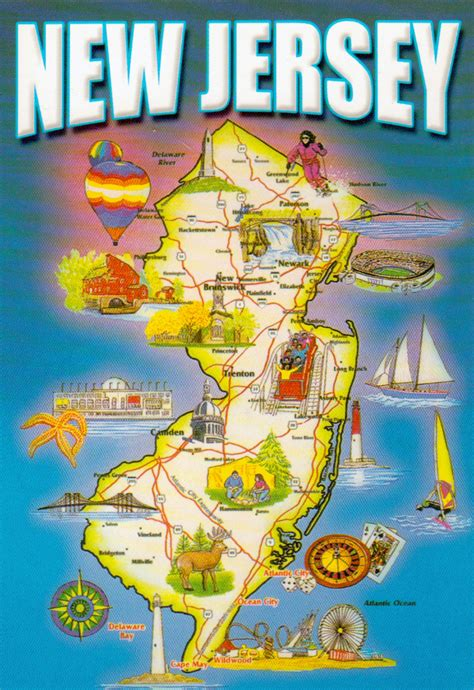 where is new jersey on the map detailed tourist map of new jersey state new jersey state