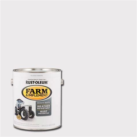 rust oleum 1 gal farm and implement gloss white paint of 2 280166 the home depot