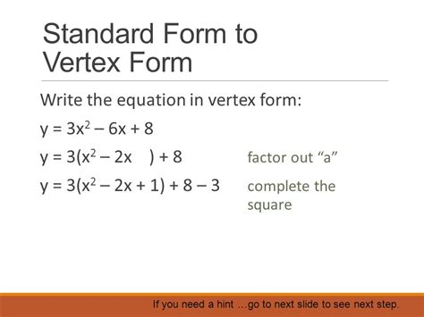 how to find vertex from standard form vertex form ppt