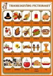thanksgiving charades english worksheets thanksgiving pictionary