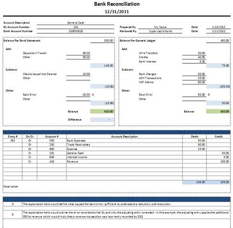excel bank account template free excel bank reconciliation template