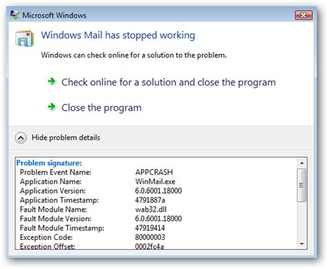 fix microsoft exchange error message windows xp vista windows disable the check online for a solution dialog error