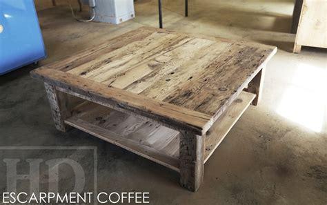 reclaimed wood coffee table in mindemoya ontario cottage